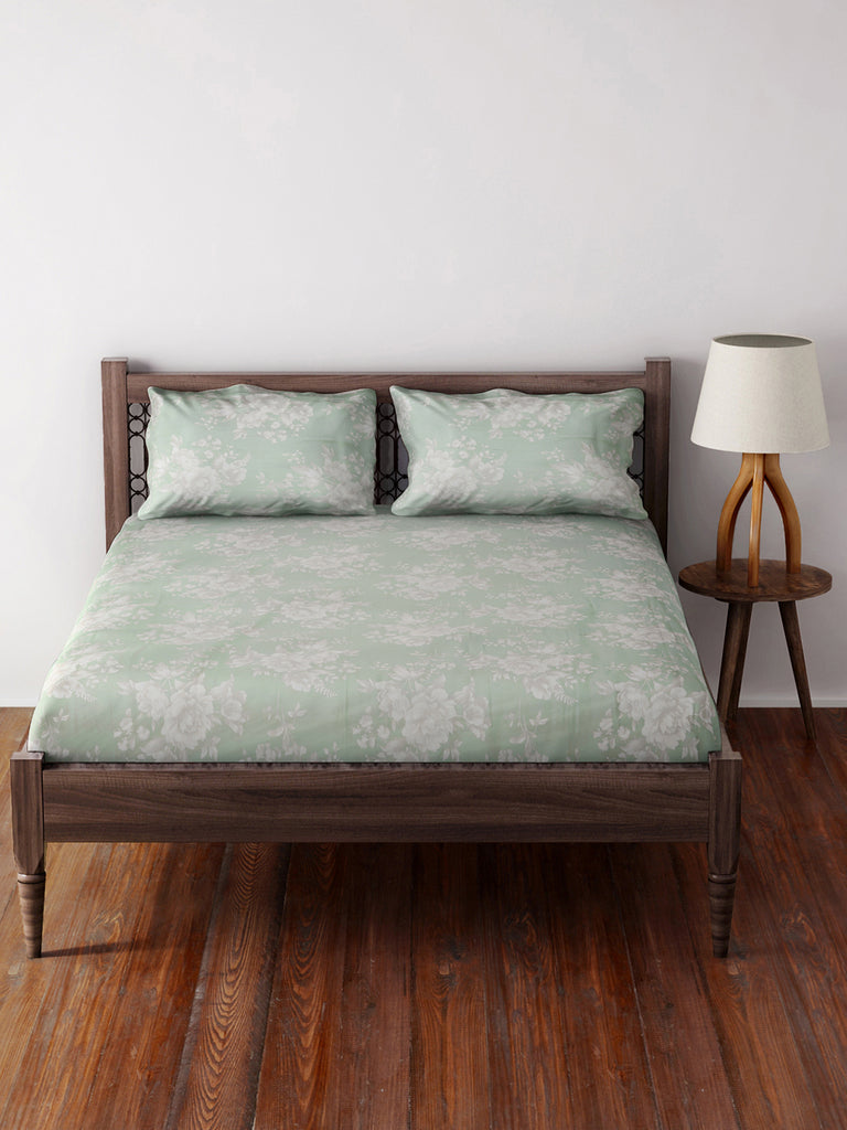 Westside Home Mint 210 TC Sateen Double Bed-Sheet With Two Pillowcases Set