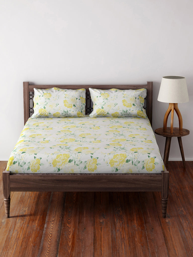 Westside Home Yellow 210 TC Sateen Double Bed-Sheet With Two Pillowcases Set