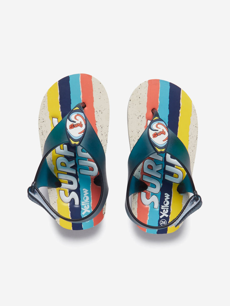 Yellow Kids Multicoloured Text Pattern Sandals
