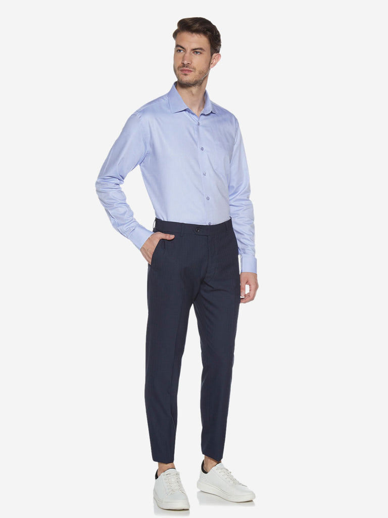 WES Formals Blue Relaxed Fit Shirt
