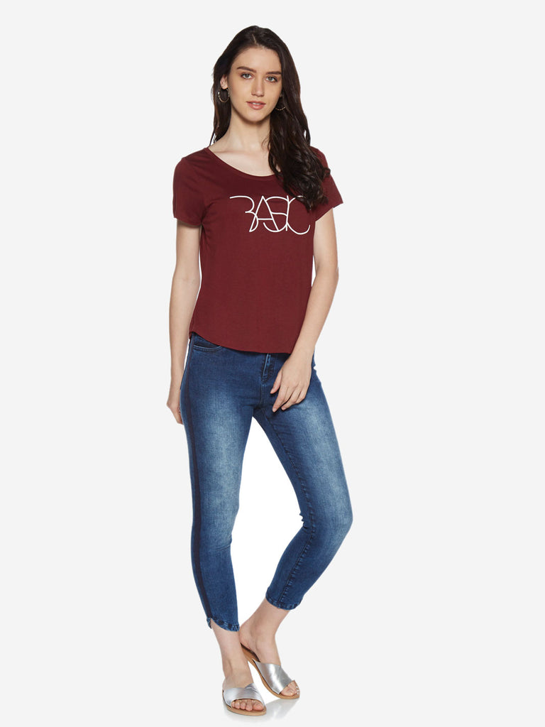 LOV Burgundy Text Patterned Sherry T-Shirt