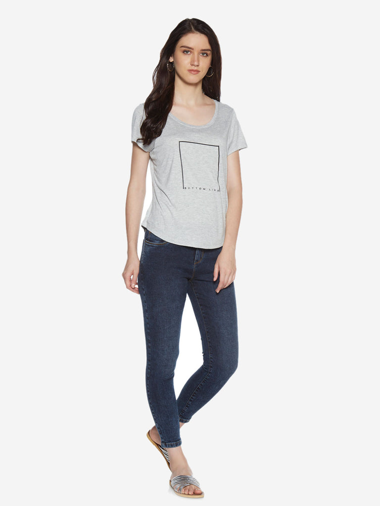 LOV Grey Text Patterned T-Shirt