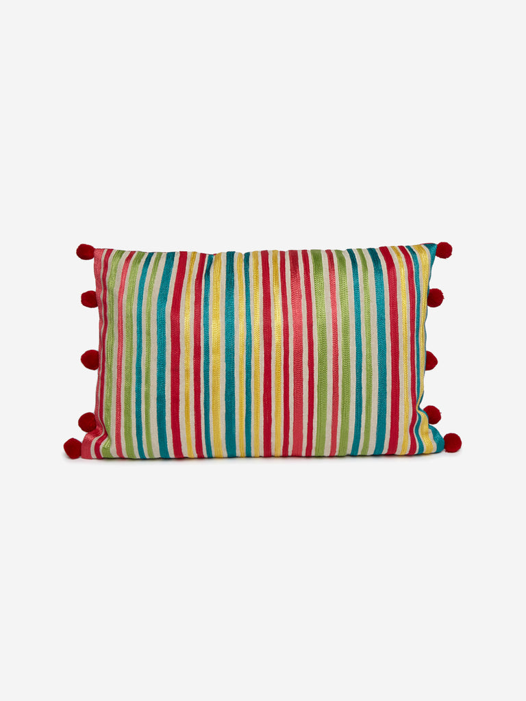 Westside Home Multicolour Pom Pom Detailed Cushion Cover