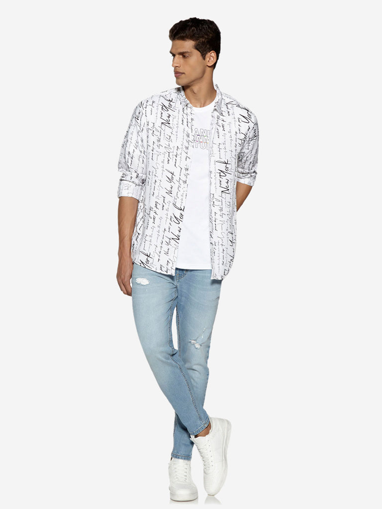 Nuon White Text Patterned Relaxed Fit Shirt