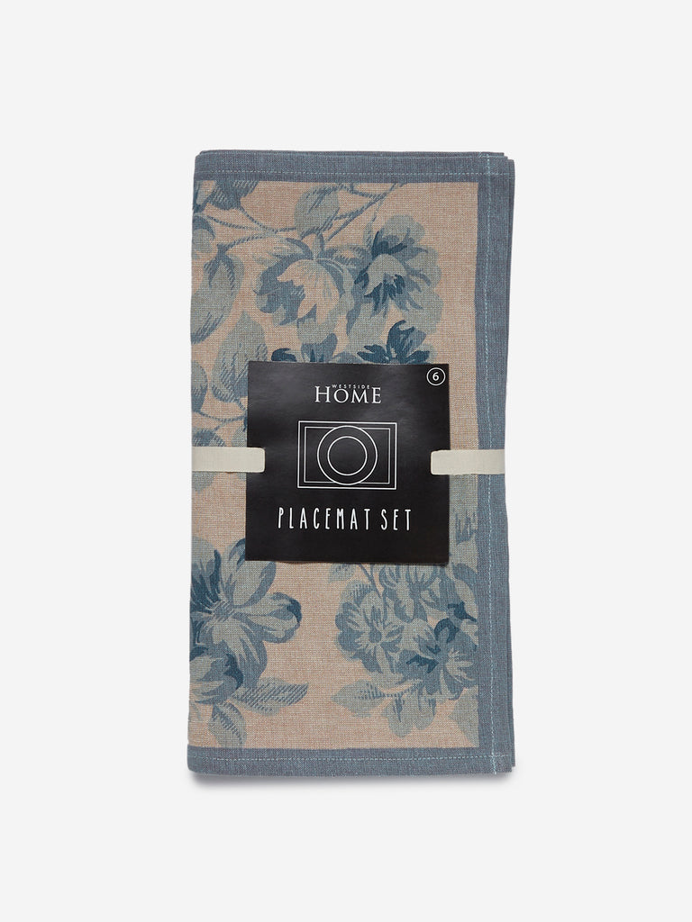 Westside Home Blue Floral Print Placemats Set Of Six