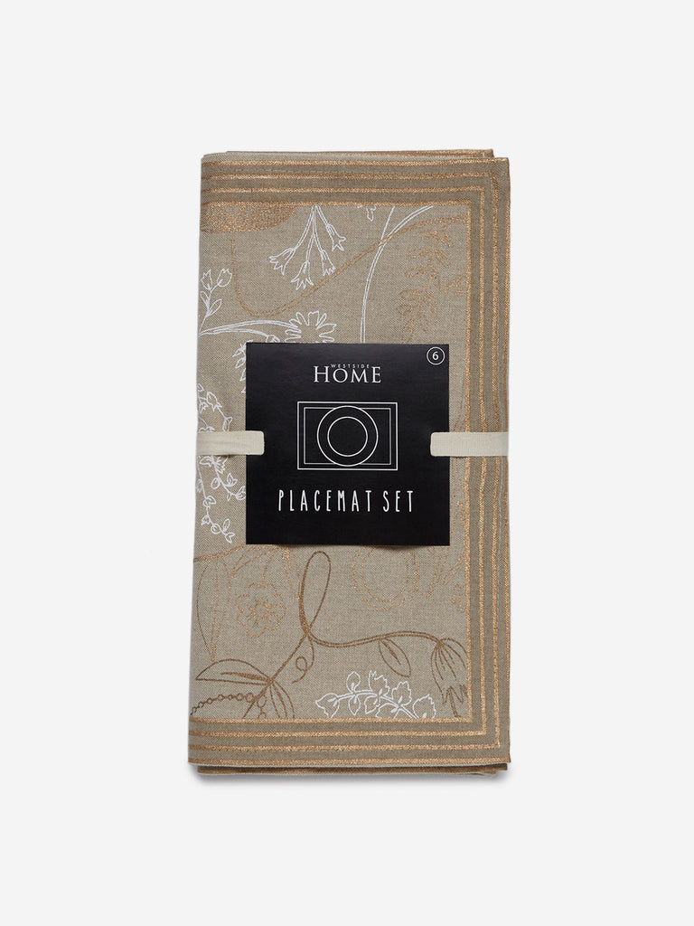 Westside Home Beige Printed Pure-Cotton Placemats Set Of Six