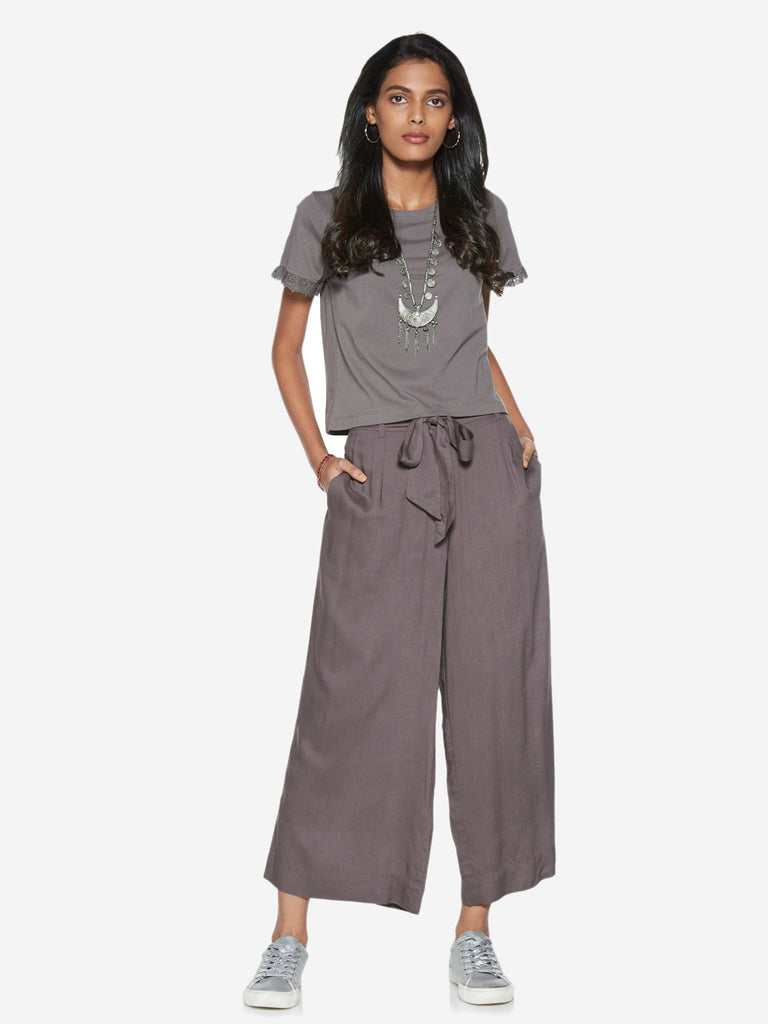 Bombay Paisley Grey Palazzos With Belt