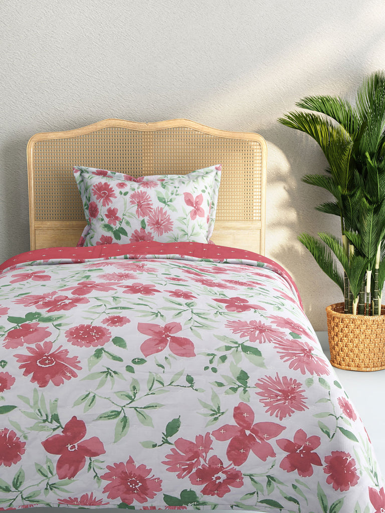 Westside Home Multicolour Quilted Single Bedcover With Pillowcase