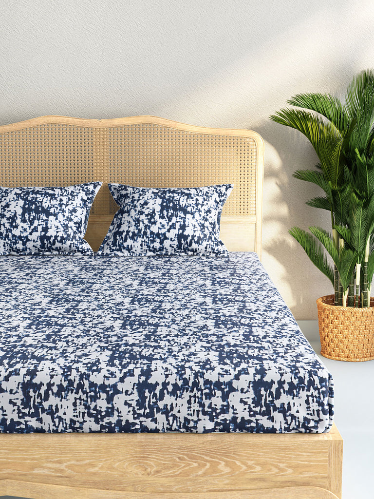 Westside Home Indigo Abstract Print Pure Cotton Double Bedsheet With Two Pillowcases
