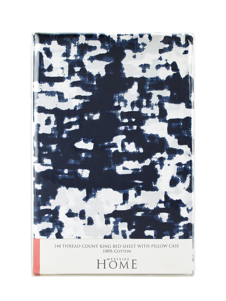 Westside Home Indigo Abstract Print Pure Cotton King Bedsheet With Two Pillowcases