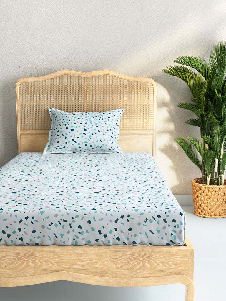 Westside Home Aqua 144 Thread Count Pure Cotton Single Bedsheet With Pillowcase