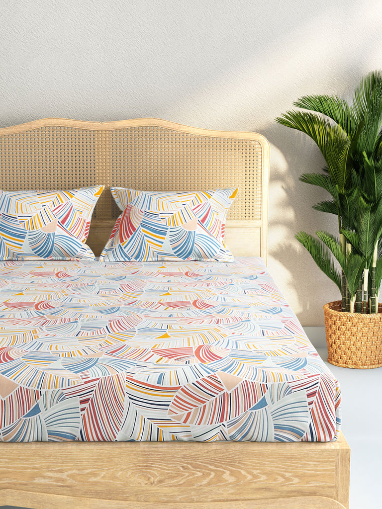 Westside Home Multicolour Retro Striped Double Bedsheet With Two Pillowcases