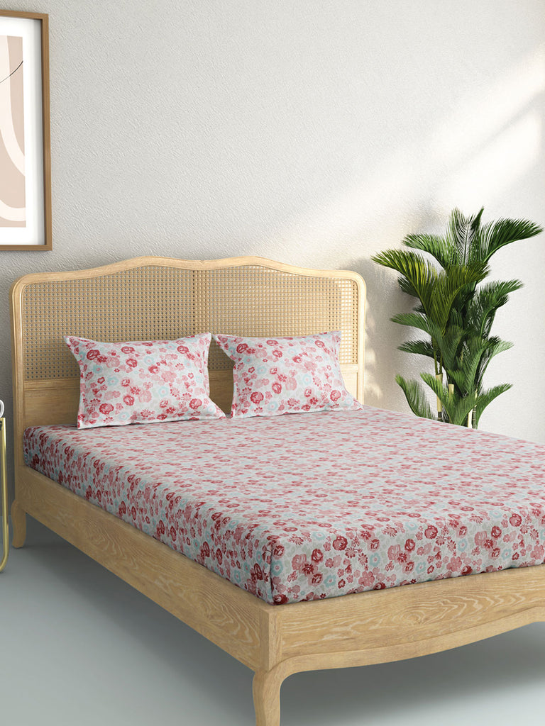 Westside Home Multicolour Floral Double Bedsheet With Two Pillowcases