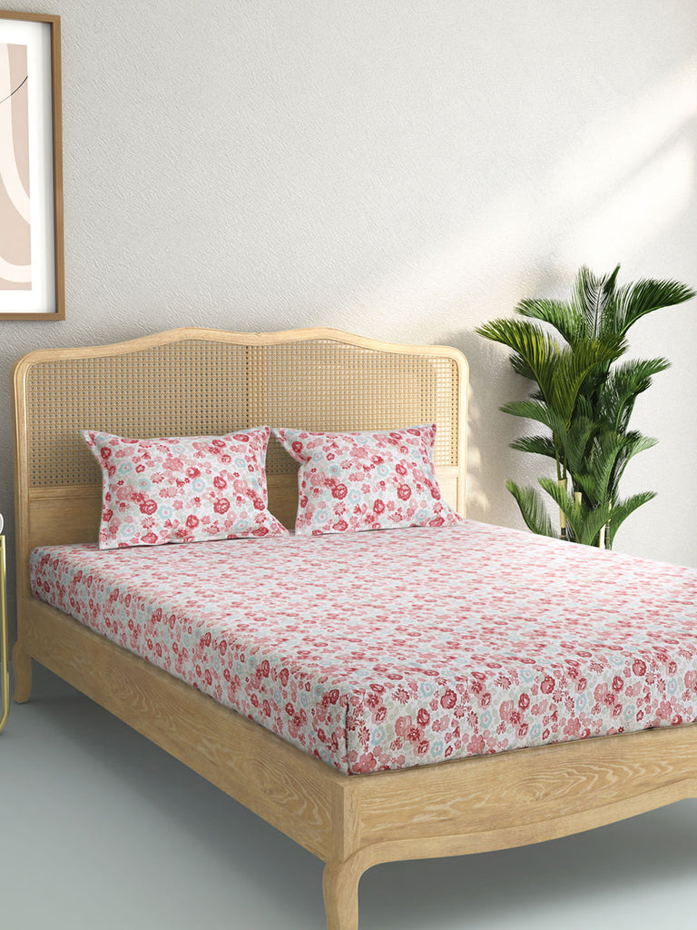 Westside Home Multicolour Floral King Bedsheet With Two Pillowcases
