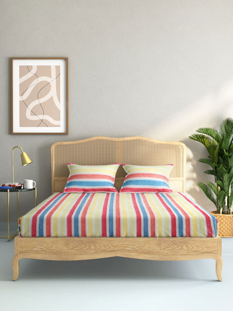 Westside Home Multicolour Striped King Bedsheet With Two Pillowcases