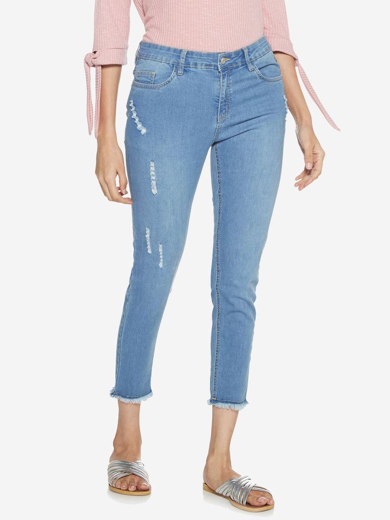 LOV Light Blue Distressed Farana Jeans