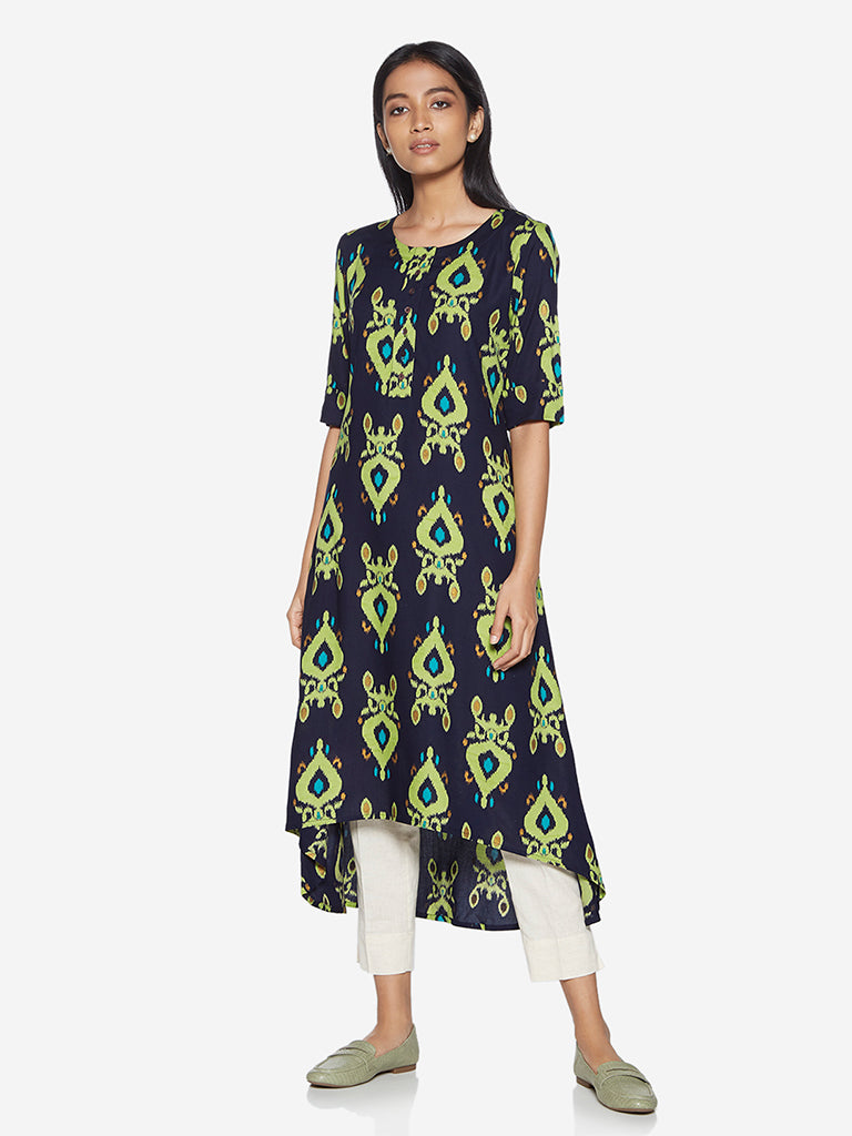 Utsa Indigo Ikat Patterned High-Low Kurta