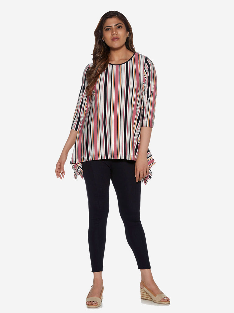 Gia curve Multicolour Stripe Print Swingy Top