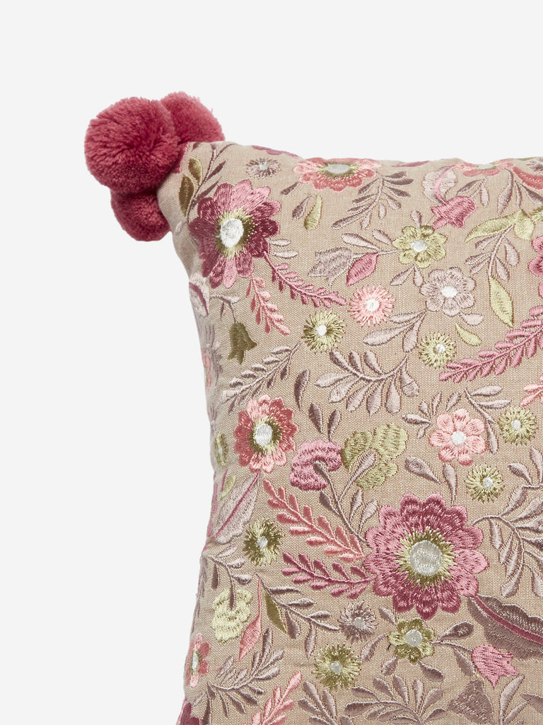 Westside Home Multicolour Floral Embroidered Cushion Cover