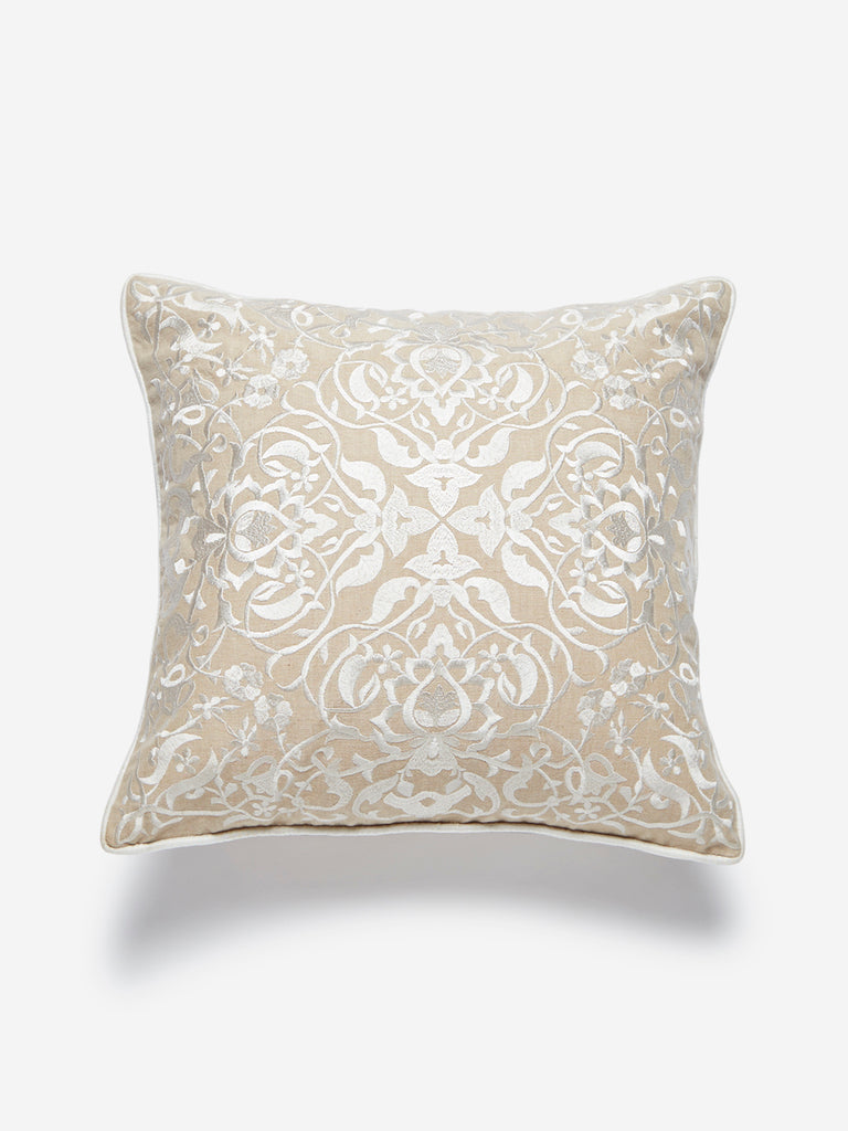 Westside Home Beige Embroidered Cushion Cover