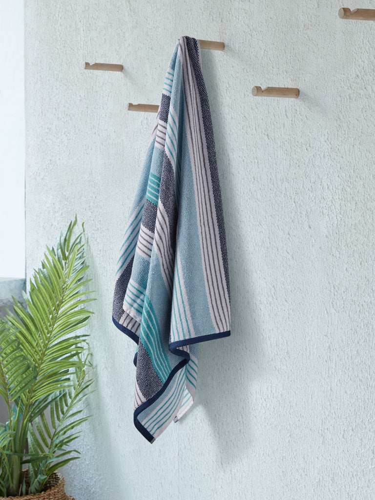 Westside Home Blue Striped 500 GSM Bath Towel