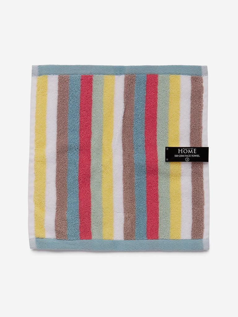 Westside Home Multicolour Vibrant Striped 500 GSM Face Towel Set Of Two