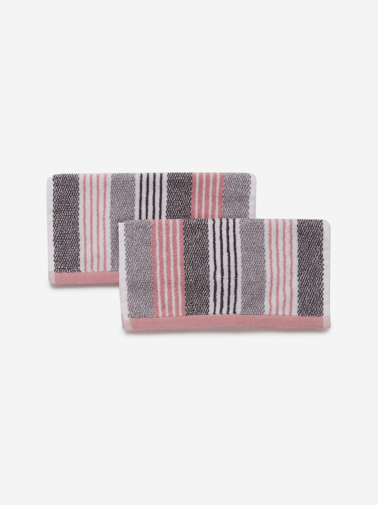 Westside Home Grey Striped 500 GSM Face Towel Set Of Two