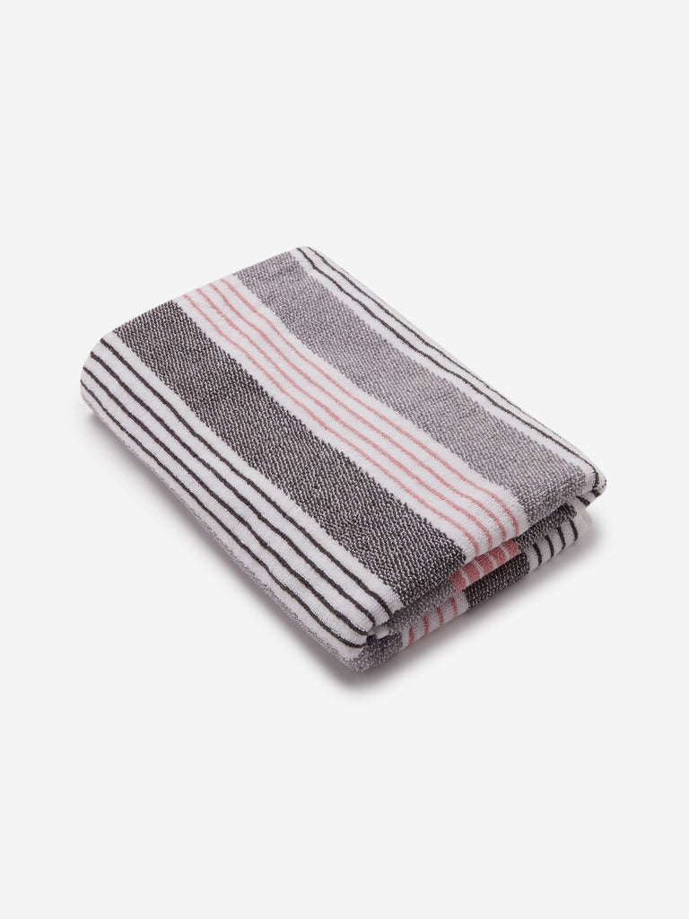 Westside Home Grey Striped 500 GSM Bath Towel
