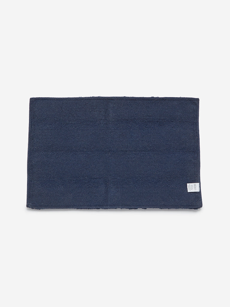 Westside Home Navy Self-Striped Bath Mat