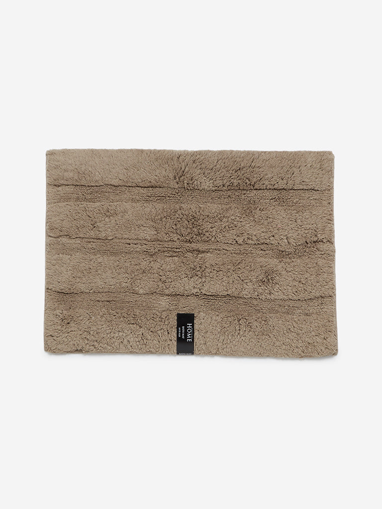 Westside Home Taupe Self-Striped Bath Mat