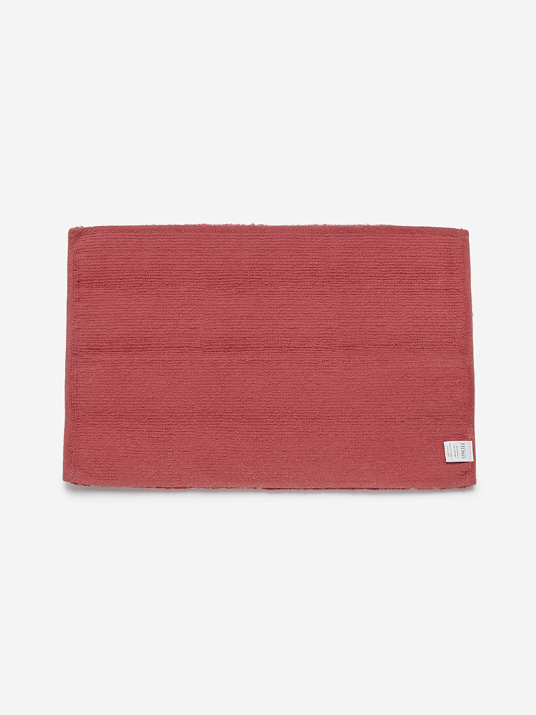 Westside Home Dark-Pink Self-Striped Bath Mat