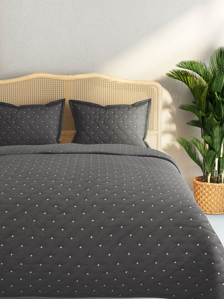 Westside Home Charcoal Embroidered Quilted Double Bedcover With Pillowcases