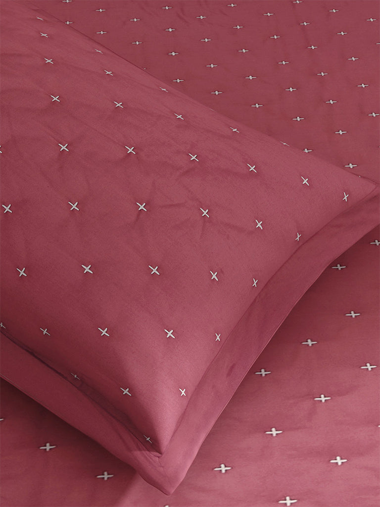 Westside Home Dark Pink Embroidered Quilted Single Bedcover With Pillowcase