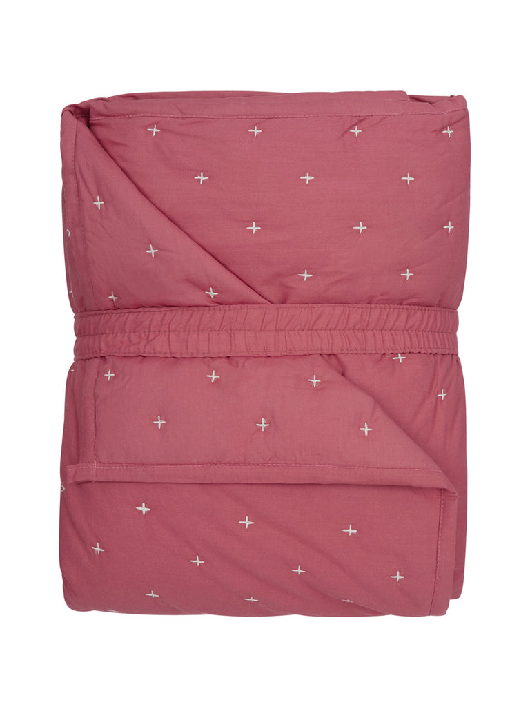 Westside Home Dark Pink Embroidered Quilted Double Bedcover With Pillowcases