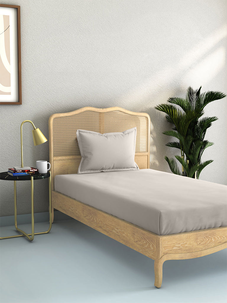 Westside Home Taupe 144 TC Single Bed Sheet And Pillowcase Set