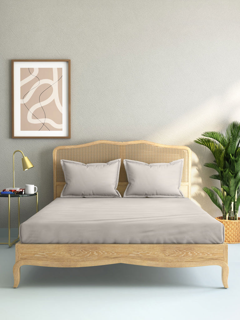 Westside Home Taupe 144 TC King Bed Sheet And Pillowcase Set