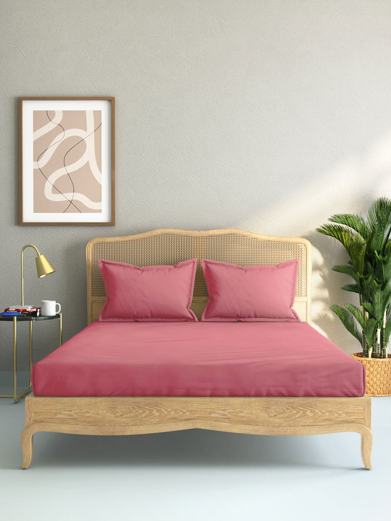 Westside Home Dark Pink 144 TC King Bed Sheet And Pillowcase Set