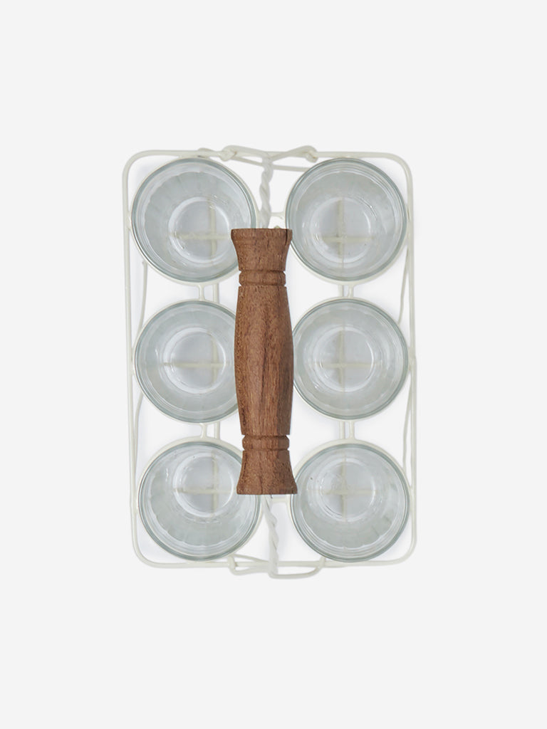 Westside Home Off-White Caddy With Six Tea Glasses
