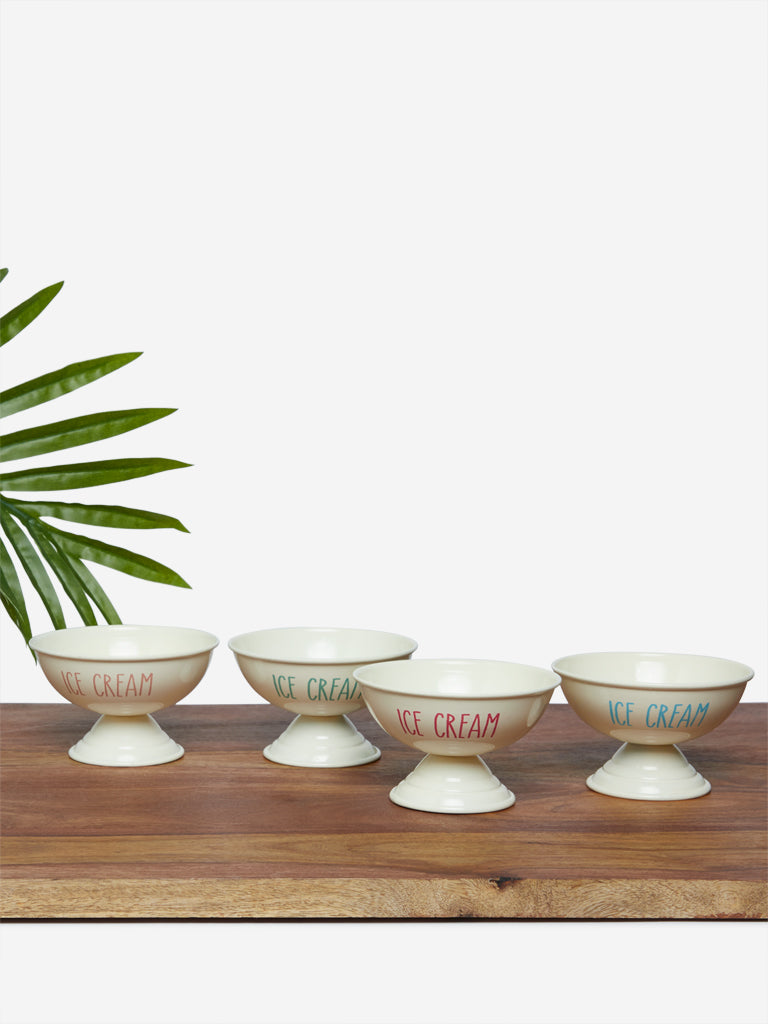 Westside Home Off-White Ice-Cream Bowls Set of Four