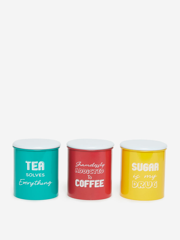 Westside Home Multicolour Text Print Containers Set of Three