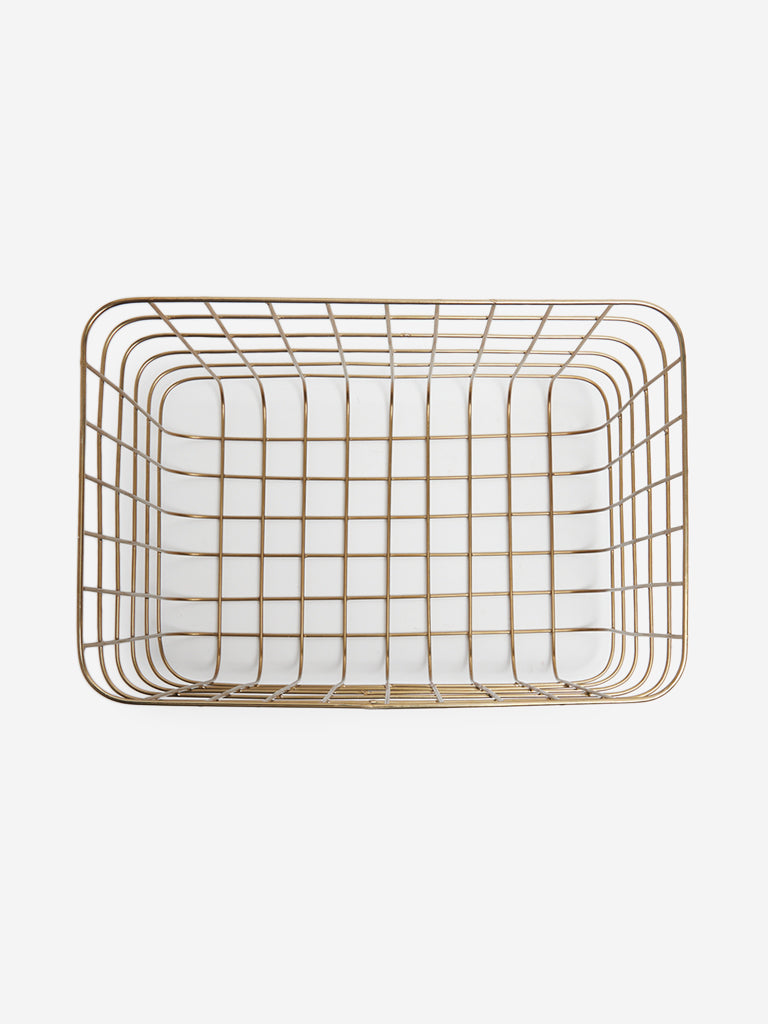 Westside Home Gold Large Wire Basket