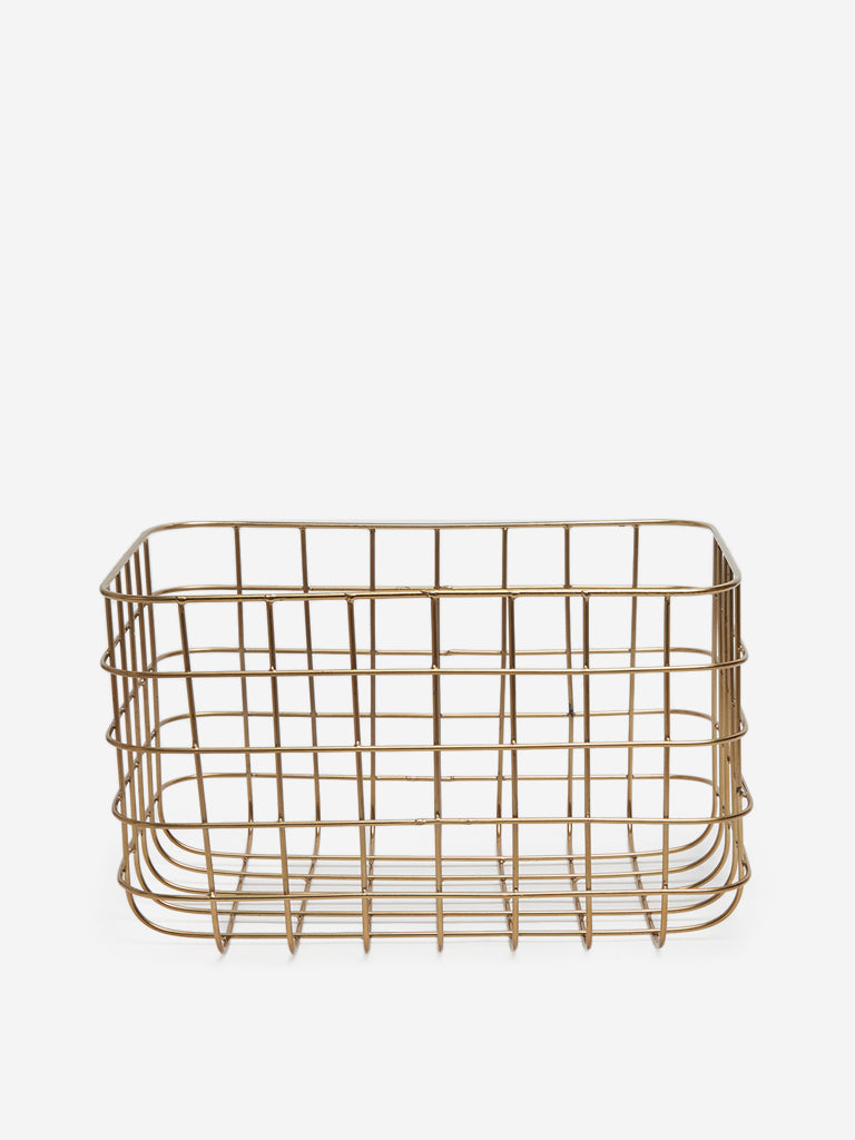 Westside Home Gold Small Wire Basket