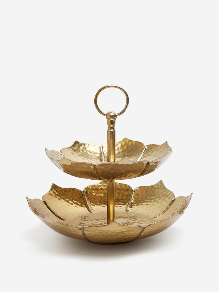 Westside Home Gold Tiered Metallic Platter