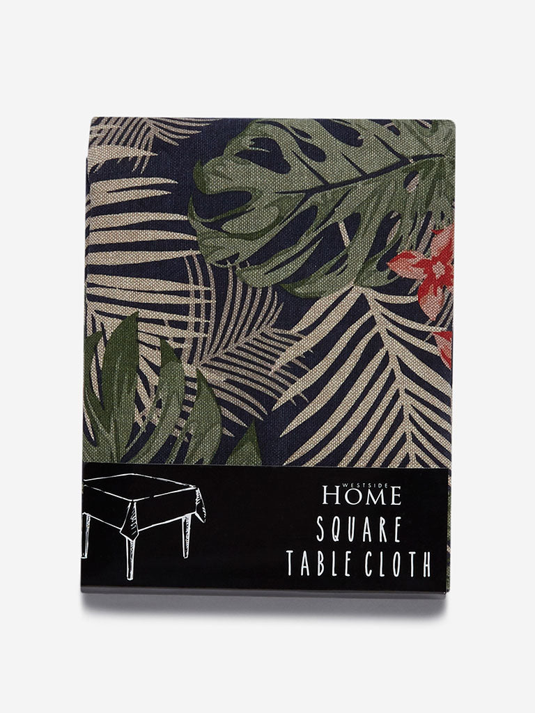 Westside Home Navy Floral Print Square Table Cloth