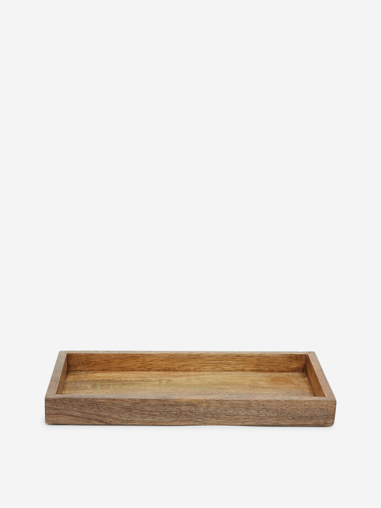 Westside Home Brown Text Printed Wooden Tray