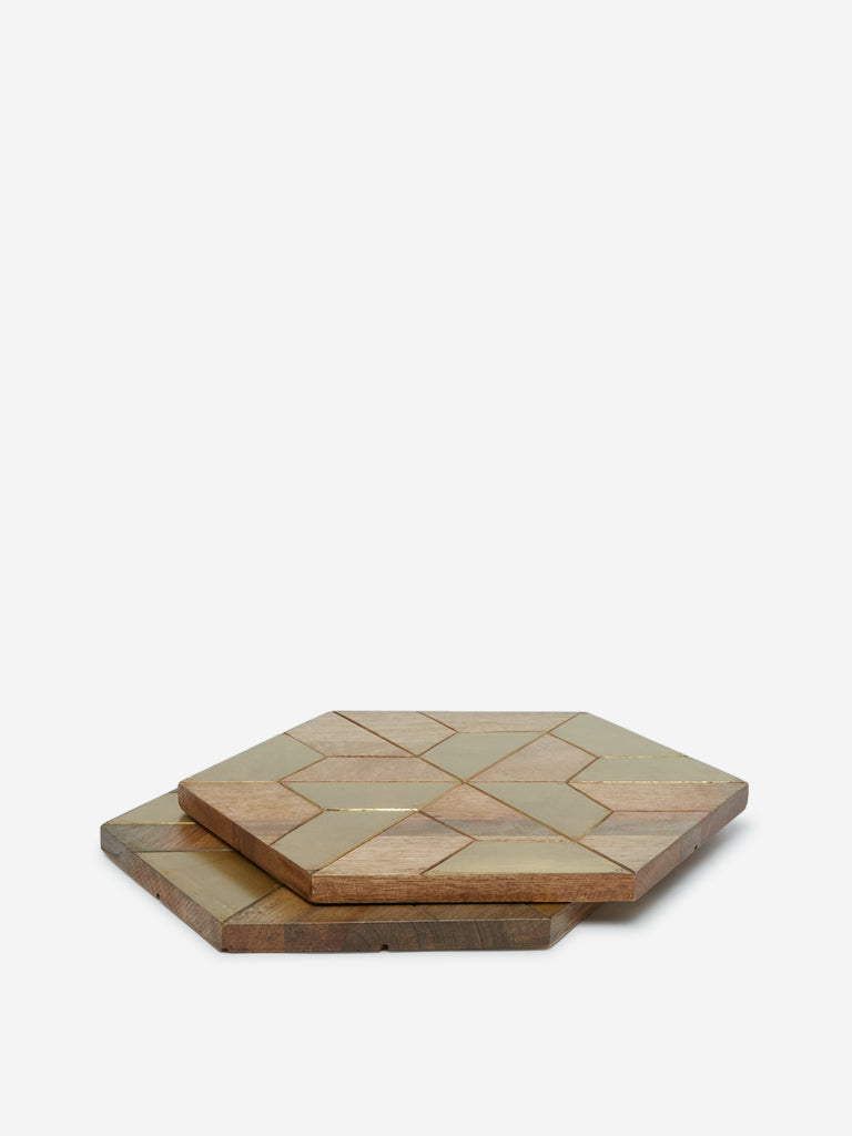 Westside Home Brown Wooden Hexagonal Placemats Set of Two