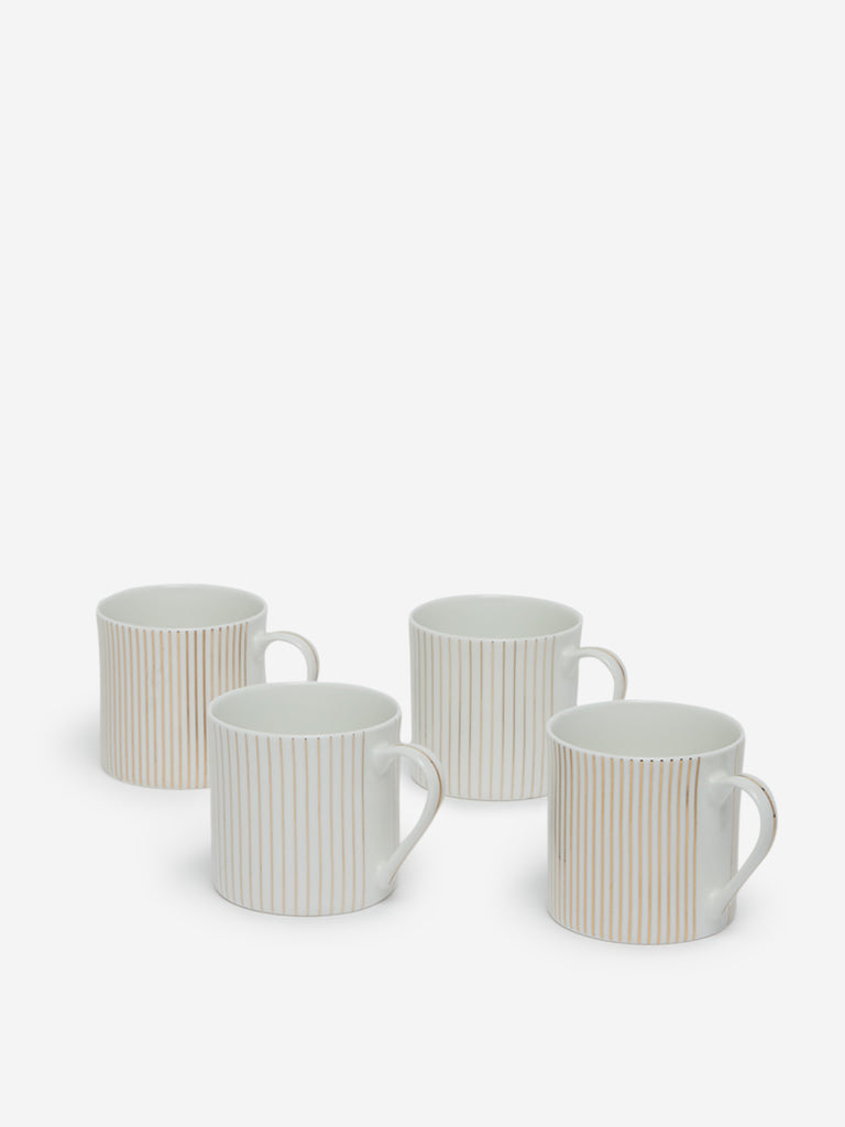 Westside Home Gold Set Of Four Striped Mugs