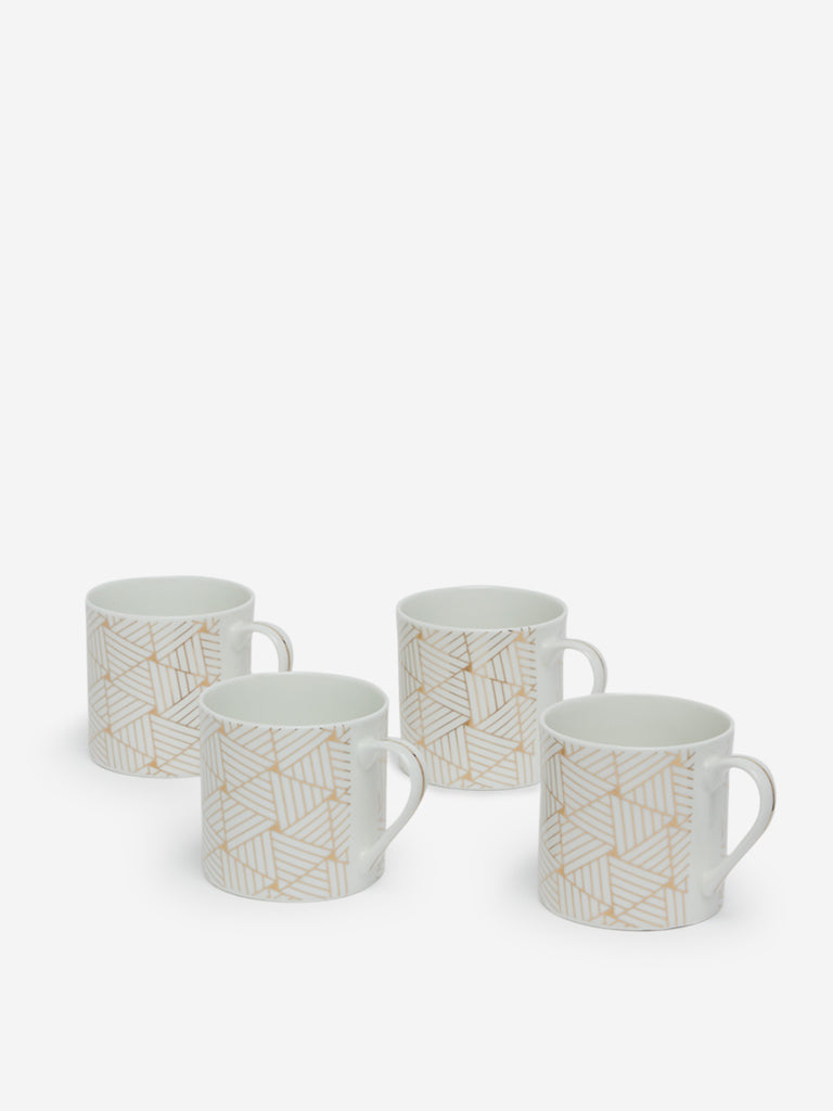 Westside Home Gold Printed Mugs Set Of Four