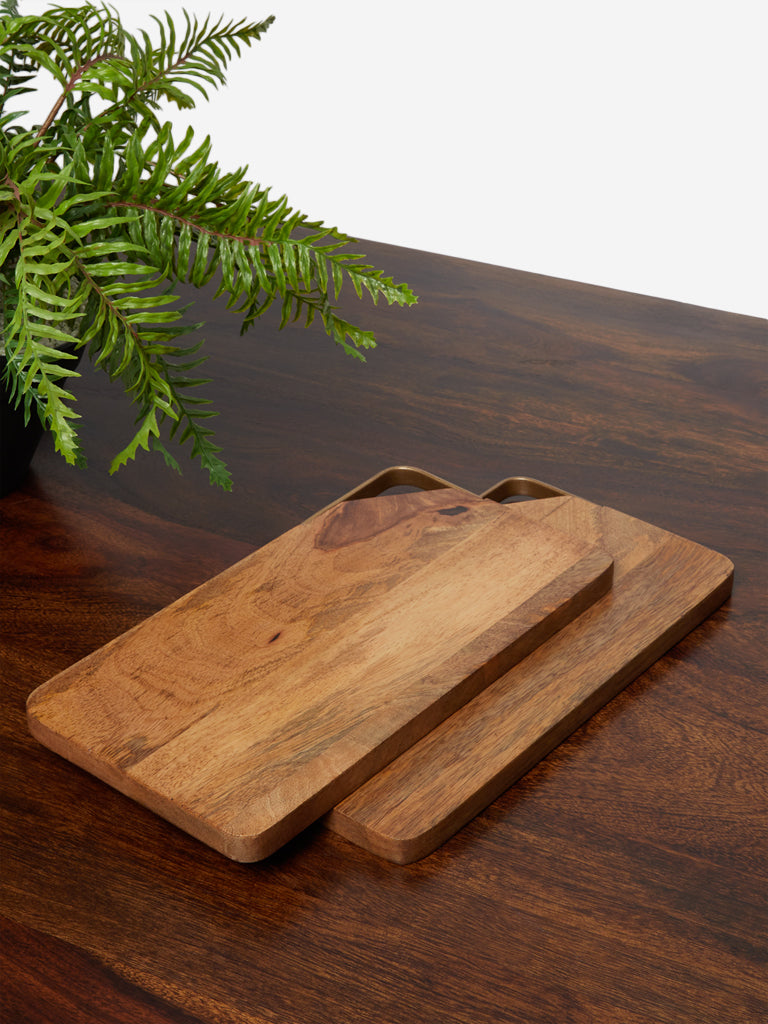 Westside Home Brown Wooden Chopping Boards Set of Two