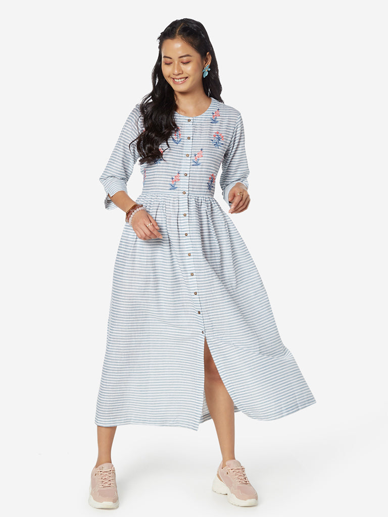 Bombay Paisley Blue Striped Fit-And-Flare Dress